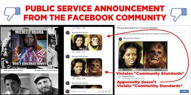 Facebook Violtion of Community Standards Michelle Obama and Chebacca BANNER2