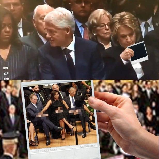 ! Hillary Reading Card at Bush Srs Funeral Obama Boners