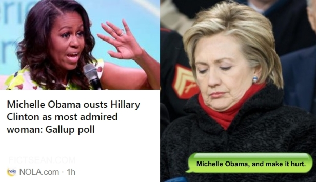 ! Michelle Obama Ousts Hillary as Most Admired Woman