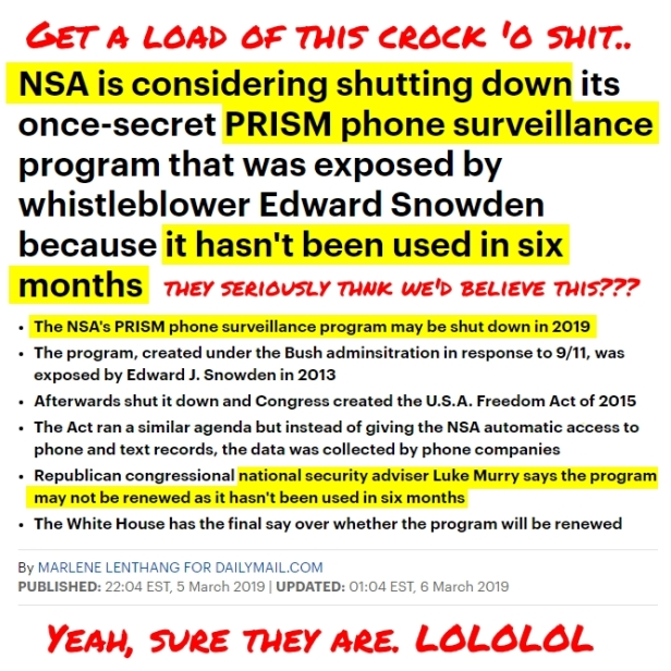 190306 NSA SAYS it's shutting down PRISM HL