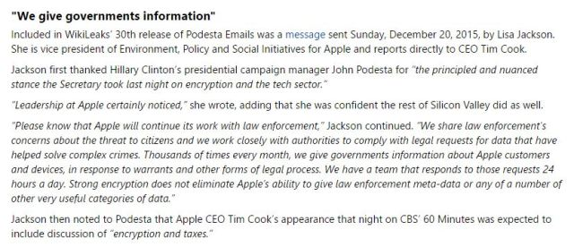 Apple provides US Government Information