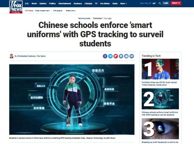 Chineses Smart Suits for Students GPS Tracking