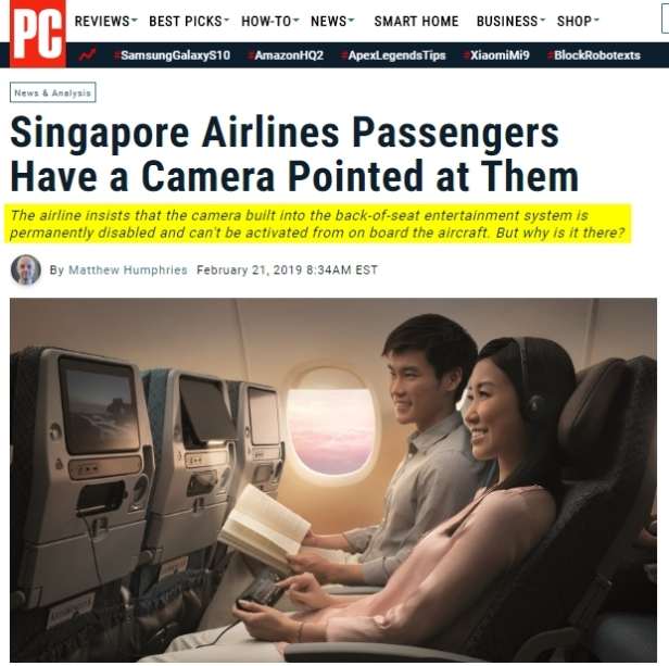 Singapore Air has a DEACTIVATED Camera pointing at every seat