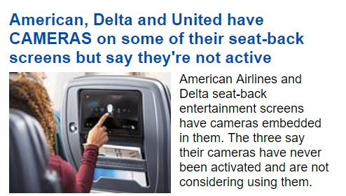 Singapore Air UNITED DELTA AMERICAN has a DEACTIVATED Camera