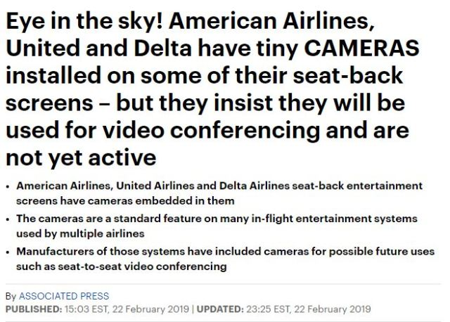 Singapore Air UNITED DELTA AMERICAN has a DEACTIVATED Camera2